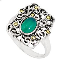 925 silver 2.01cts natural green chalcedony marcasite ring size 6.5 c20800