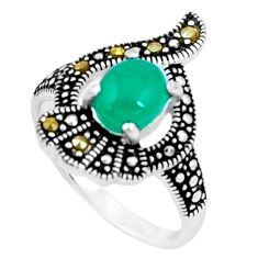 925 silver 2.35cts natural green chalcedony marcasite ring size 6.5 c23646
