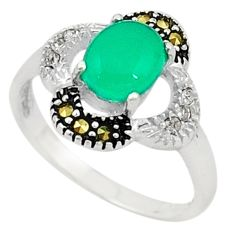 925 silver natural green chalcedony marcasite ring jewelry size 5.5 c22083