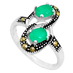 925 silver 1.79cts natural green chalcedony oval marcasite ring size 6 c23647