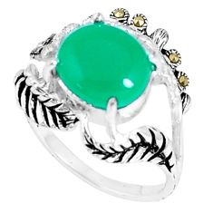 925 silver 5.27cts natural green chalcedony oval marcasite ring size 8 c23672