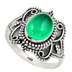 925 silver 3.01cts natural green chalcedony oval solitaire ring size 7.5 r40473