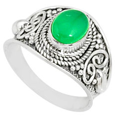 925 silver 2.03cts natural green chalcedony oval solitaire ring size 7.5 r81424