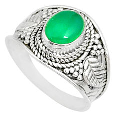 925 silver 2.02cts natural green chalcedony oval solitaire ring size 7.5 r81428