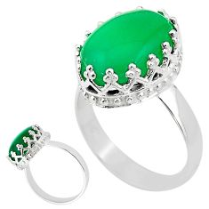 925 silver 6.57cts natural green chalcedony oval solitaire ring size 7.5 t20540