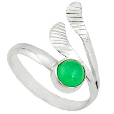 925 silver 1.36cts natural green chalcedony round solitaire ring size 10 r22205