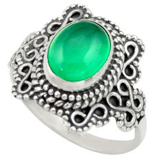 925 silver 3.19cts natural green chalcedony solitaire ring jewelry size 7 r40489