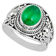 925 silver 3.19cts natural green chalcedony solitaire ring jewelry size 7 r58247