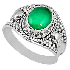 925 silver 3.26cts natural green chalcedony solitaire ring jewelry size 8 r58244