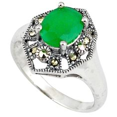 925 silver natural green chalcedony swiss marcasite ring size 7.5 c17375