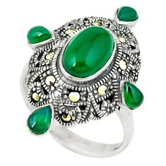 925 silver natural green chalcedony swiss marcasite ring size 6.5 c16321