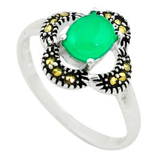925 silver natural green chalcedony swiss marcasite ring size 8.5 c22071