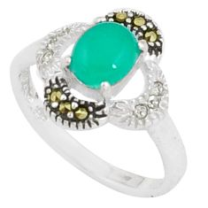 925 silver 2.42cts natural green chalcedony swiss marcasite ring size 7 c26034