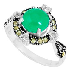 925 silver 3.17cts natural green chalcedony swiss marcasite ring size 8 c23676