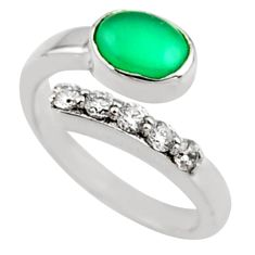 925 silver 3.58cts natural green chalcedony topaz adjustable ring size 8 r54569