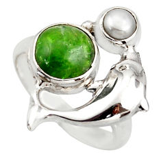 925 silver 3.91cts natural green chrome diopside dolphin ring size 6.5 d46049