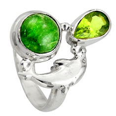 925 silver 5.36cts natural green chrome diopside dolphin ring size 7 d46064