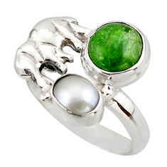 925 silver 5.52cts natural green chrome diopside elephant ring size 8 d46026