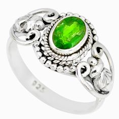 925 silver 1.42cts natural green chrome diopside solitaire ring size 7.5 r82368