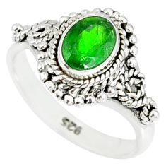 925 silver 1.46cts natural green chrome diopside solitaire ring size 8 r82272