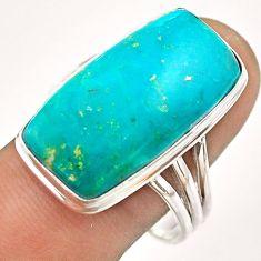 925 silver 17.20cts natural green chrysocolla octagan ring size 11 t54396