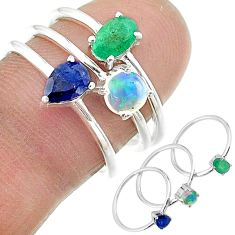 925 silver 2.72cts natural green emerald ethiopian opal 3 rings size 7 t17564