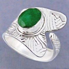 925 silver 4.06cts natural green emerald oval adjustable ring size 8.5 r54808