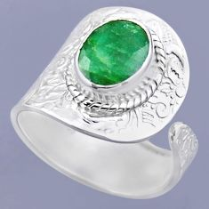 925 silver 4.40cts natural green emerald oval adjustable ring size 9.5 r54906