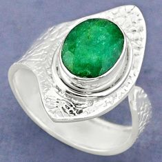 925 silver 3.80cts natural green emerald oval adjustable ring size 8.5 r63396