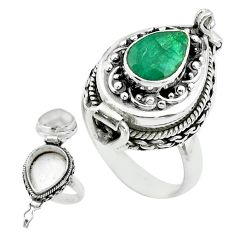 925 silver 2.53cts natural green emerald pear poison box ring size 6.5 t52783