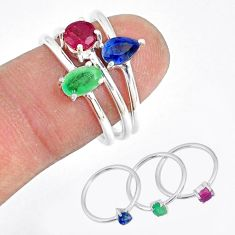 925 silver 2.72cts natural green emerald ruby sapphire 3 rings size 8 t17557
