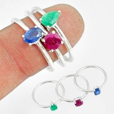 925 silver 3.13cts natural green emerald sapphire ruby 3 rings size 7.5 r79807