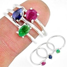 925 silver 3.02cts natural green emerald sapphire ruby 3 rings size 7 r79824