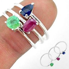 925 silver 3.14cts natural green emerald sapphire ruby 3 rings size 7 t50922
