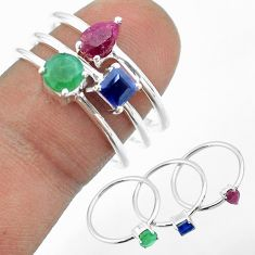 925 silver 3.14cts natural green emerald sapphire ruby 3 rings size 8 t50999