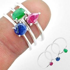 925 silver 2.98cts natural green emerald sapphire ruby 3 rings size 6.5 t50936