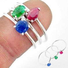 925 silver 3.11cts natural green emerald sapphire ruby 3 rings size 6.5 t50953