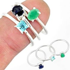 925 silver 3.13cts natural green emerald sapphire topaz 3 rings size 7 r85180