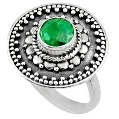 925 silver 1.15cts natural green emerald solitaire ring jewelry size 7 r54364