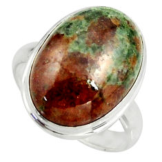 925 silver 13.59cts natural green grass garnet oval solitaire ring size 8 r39630