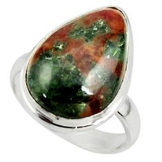 925 silver 13.55cts natural green grass garnet pear solitaire ring size 8 r39635