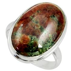 925 silver 17.69cts natural green grass garnet solitaire ring size 10 r39625
