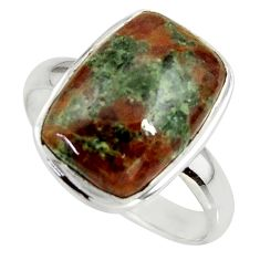 925 silver 9.86cts natural green grass garnet solitaire ring size 10 r39639
