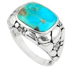 925 silver 4.38cts natural green kingman turquoise solitaire ring size 6 c10606
