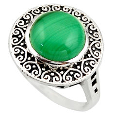 925 silver 6.18cts natural green malachite (pilot's stone) ring size 7.5 d46104