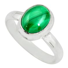 925 silver 3.30cts natural green malachite oval solitaire ring size 7 r26389
