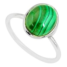 925 silver 4.57cts natural green malachite oval solitaire ring size 7 r81676