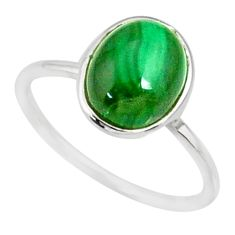 925 silver 4.05cts natural green malachite oval solitaire ring size 7 r81678