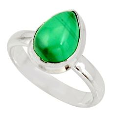 925 silver 3.13cts natural green malachite pear solitaire ring size 6 r27415