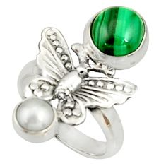 925 silver 5.42cts natural green malachite pearl butterfly ring size 7 r22647